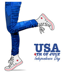 Photo realistic woman legs usa style vector