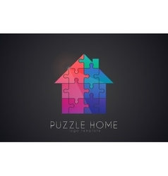Puzzle house logo puzzle home creative logo vector