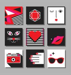 Red andblack flat pop art minimal square cards vector