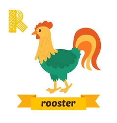 Rooster R letter Cute children animal alphabet in vector image
