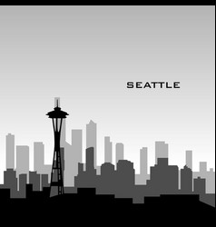seattle cityscape vector image vector image