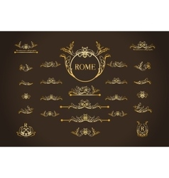 set of italian calligraphic design elements vector image vector image