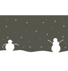 Silhouette of snowman winter scenery vector