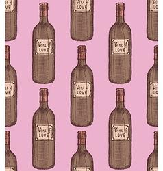 Sketch wine bottle in vintage style vector image vector image