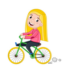 Smiling little girl riding on bicycle vector