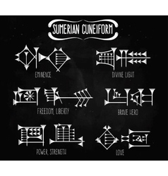 Sumerian cuneiform words meanings tattoo set vector image