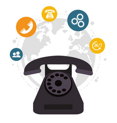 Telephone call center all day global service vector