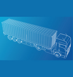 Trailer truck abstract drawing tracing vector