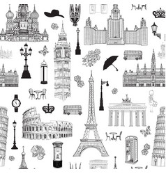 Travel seamless pattern europe vacation wallpaper vector