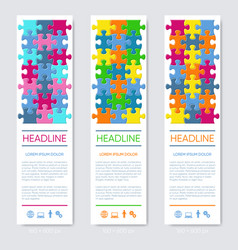 vertical jigsaw puzzle banners vector image
