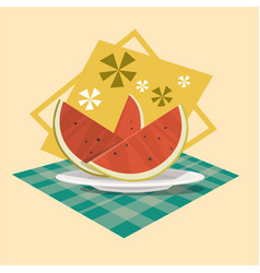 Watermelon icon summer sea vacation concept vector