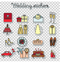 Wedding stickers marriage engagement honeymoon vector