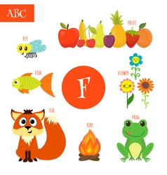 Letter f cartoon alphabet for children flower fox vector