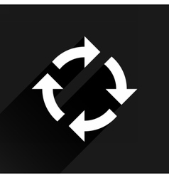 White arrow icon refresh sign on black background vector