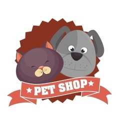 Cute cartoon doggy cat pet shop ribbon vector