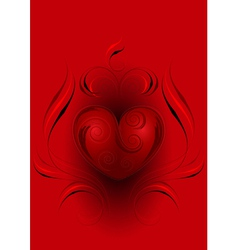 Red heart with decor on red background vector image