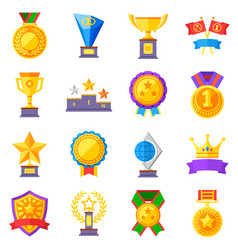Flat rewards icons gold cups medals and vector