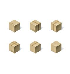 set of six isometric cardboard boxes isolated on vector image