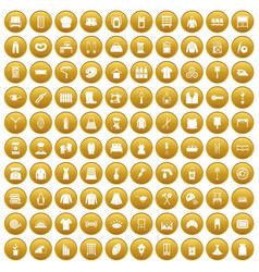 100 needlework icons set gold vector