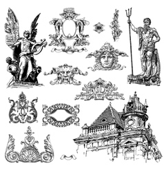 Vintage sketch calligraphic drawing of heraldic vector