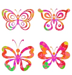 Set butterflies with pattern vector