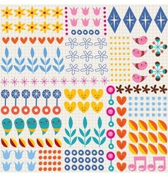 Nature hearts flowers dots fun characters note vector