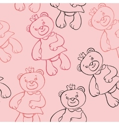Seamless pattern with bears girls vector