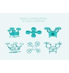Drone quadrocopters different types isometrics vector