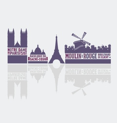 Paris city landmarks vector