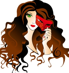 Girl with a carnival mask vector