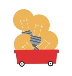 Lightbulbs in wagon icon vector