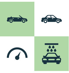 automobile icons set collection of transport vector image vector image