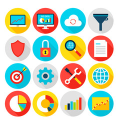 big data analytics flat icons vector image
