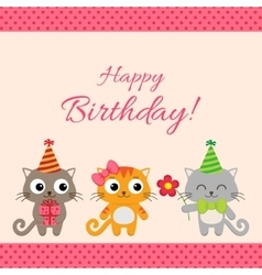 Birthday party card with cats vector