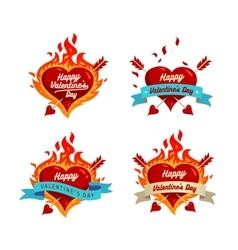 Burning hearts set vector