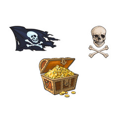 Cartoon pirates symbols set isolated vector