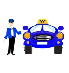 Chauffeur taxi on white background vector