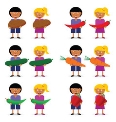Children holding vegetables vector