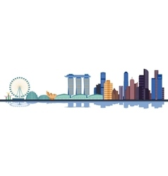 Color singapore city skyline vector