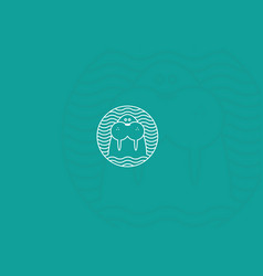 Contour modern logo walrus in a round pattern vector