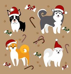 Dogs in santa hats christmas card vector