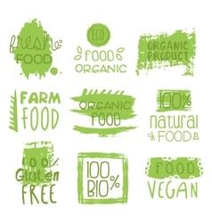 Farm vegan food green set of label vector