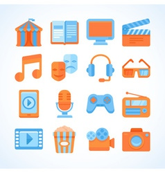Flat icon set of entertainment symbols vector