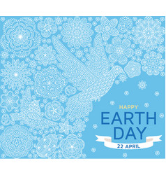 Happy earth day background with ornate birds and vector