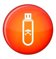 Infected usb flash drive icon flat style vector