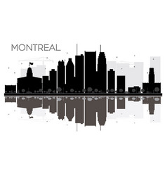 montreal city skyline black and white silhouette vector image vector image