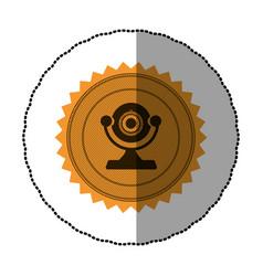 Orange emblem computer camera icon vector