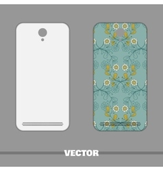 Phone cover blue floral ornament vector