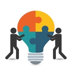 pictogram puzzle bulb teamwork support design vector image vector image