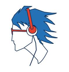 Profile man avatar portrait with blue hair vector